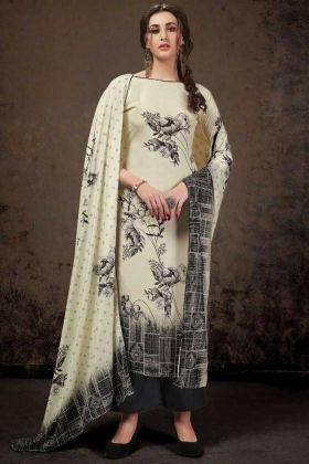 Off White Crepe Silk Top With Dark Grey Bottom Salwar Suit