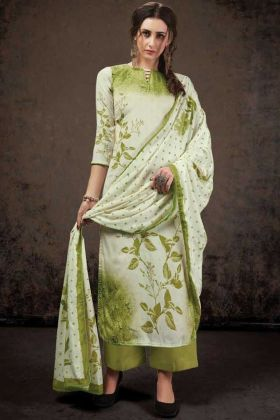 Off White Crepe Silk Top With Light Green Bottom Salwar Suit
