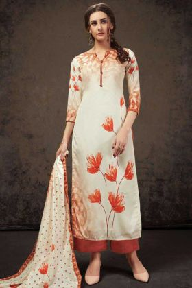 Off White Crepe Silk Top With Orange Bottom Salwar Suit