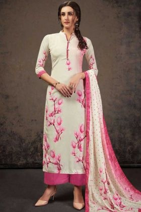 Off White Crepe Silk Top With Pink Bottom Salwar Suit