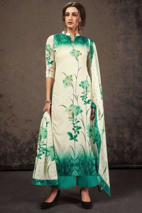 Off White Crepe Silk Top With Teal Green Bottom Salwar Suit