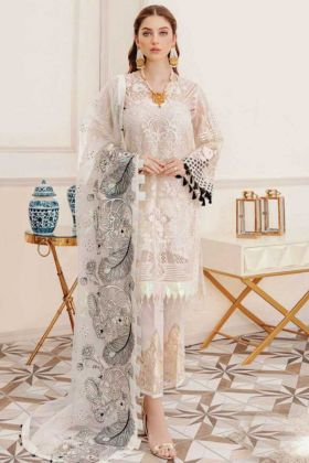 Off White Heavy Faux Georgette Pakistani Style Suit