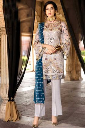 Off White Color Heavy Georgette Pakistani Suit With Nazneen Dupatta