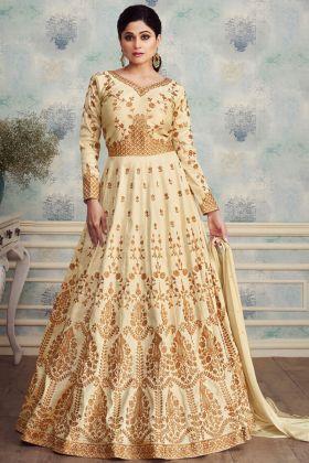 Off White Anarkali Salwar Suit Online