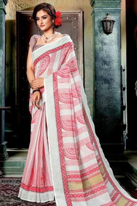 Off White and Multi Color Linen Cotton Printed Saree