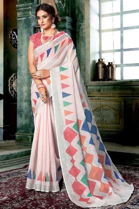 Off White and Multi Color Linen Cotton Saree With Digital Printed Work