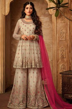 Off White Beautiful Sharara Salwar Suit
