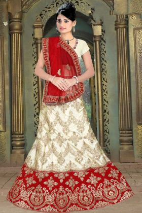 Off White Bridal Lehenga Choli Satin Silk Embroidery Work