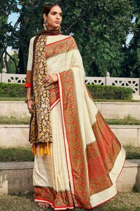 Off White Chanderi Silk Saree Blouse Design With Printed Shawl