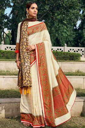 Off White Chanderi Silk Saree Blouse Design With Printed Shawl