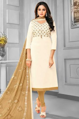 Off White Color Cotton Churidar Salwar Suit With Resham Embroidery