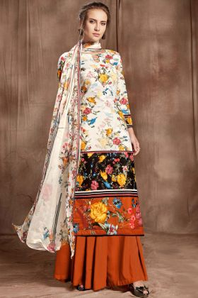 Off White Color Cotton Printed Salwar Suit