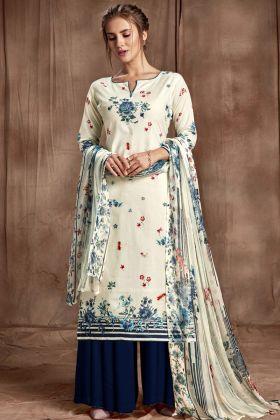 Off White Color Digital Printed Sharara Suit