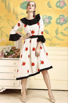 Off White Color Fancy Style Rayon Kurti