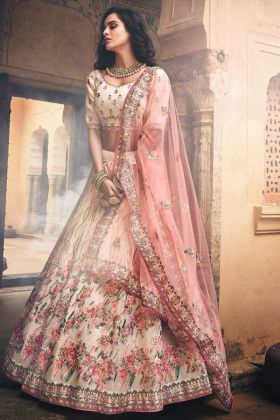 Off White Color Organza Wedding Lehenga Choli With Thread Work