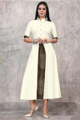 Off White Color Rayon Fancy Party Wear Kurti