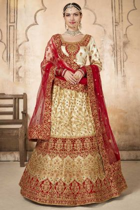 Off White Color Silk Bridal Lehenga Choli With Embroidery Work