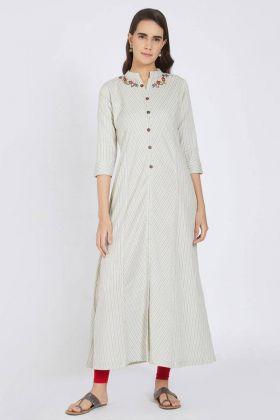 Off White Cotton Kurti Online