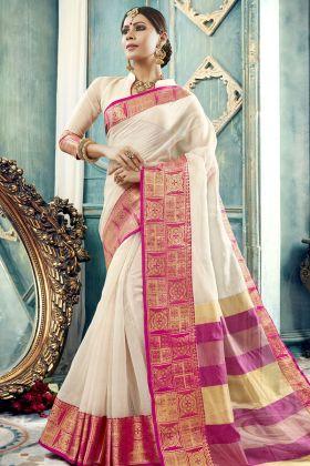 Off White Cotton Silk Festive Saree