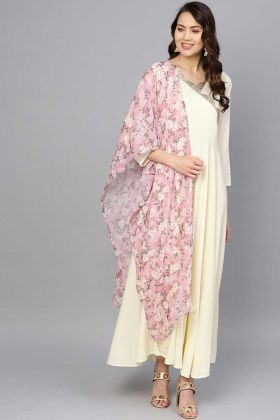 Off White Designer Gown With Crepe Fabric