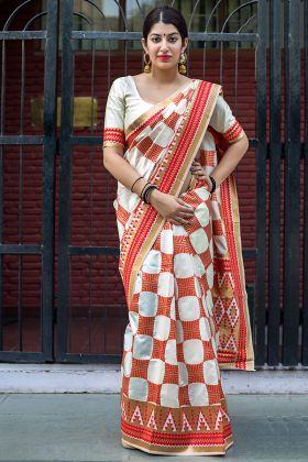 Off White Festive Wear Banarasi Silk Saree With Blouse Piece