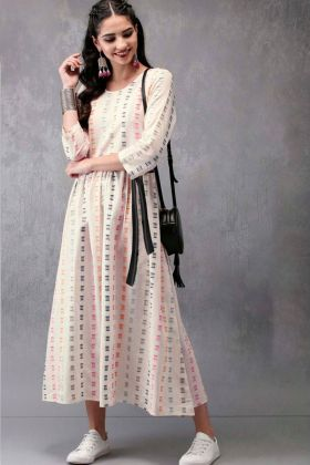 Off White Heavy Crepe Western Kurti Online