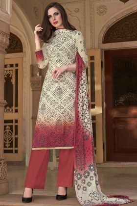 Off White Old Rose Pink Festive Salwar Suit With Cotton Dupatta