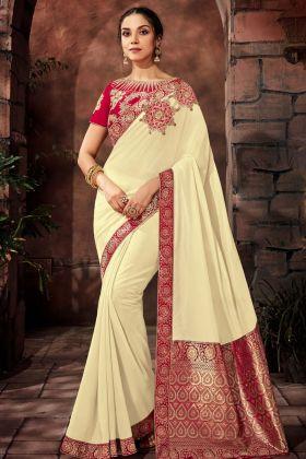 Off White Silk Georgette Designer Saree