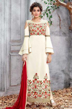 Off White Soft Silk Salwar Kameez