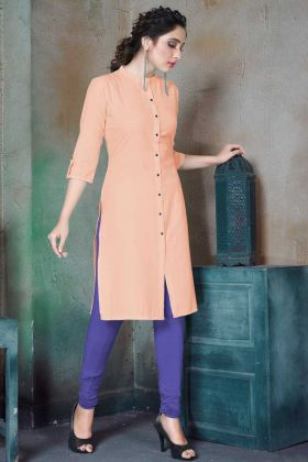 Office Wear Designer Light Peach Plain Cotton Kurti