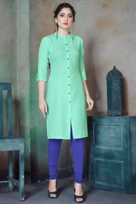 Office Wear Designer Sea Green Plain Cotton Kurti