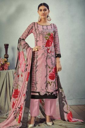 Office Wear Peach Pure Cambric Cotton Salwar Suit