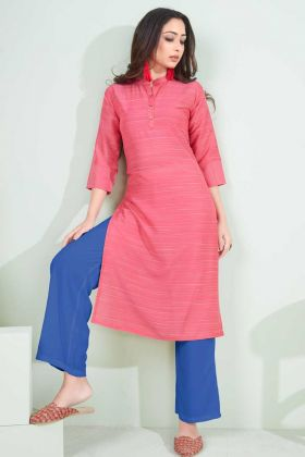Office Wear Special Pink Cotton Printed Kurti
