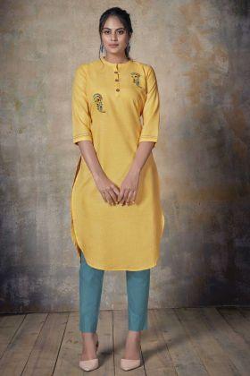 Office Wear Yellow Color Cotton Readymade Kurti