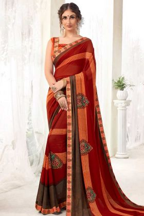 Office Wear Georgette Printed Saree Red Color