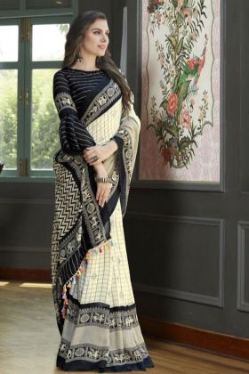 Office Wear Off White Linen Juth Printed Saree