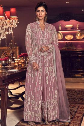 Old Rose Color Butterfly Net Heavy Designer Indo Western Suit