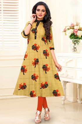 Old Gold Color Cotton Slub Office Wear Kurti