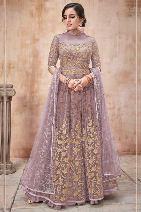 Old Rose Color Net Anarkali Suit With Embroidery Work