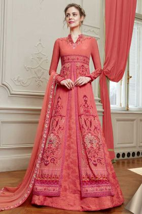 Old Rose Pink Georgette Designer Salwar Suit