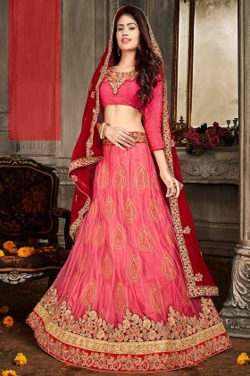 Old Rose Pink Lehenga Set In Embroidered Jacquard Net With Chiffon Dupatta Online