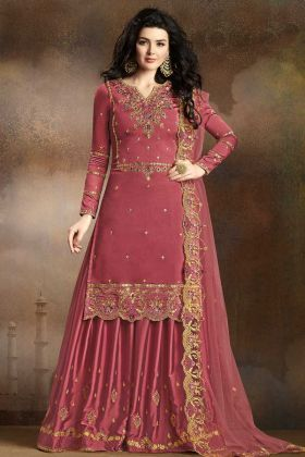 Old Rose Pink Soft Silk Sharara Suit