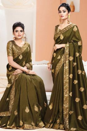 Olive Green Color Art Silk Party Wear Saree