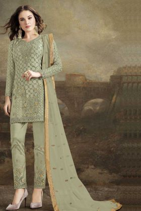 Olive Green Color Butterfly Net Pakistani Dresses With Dupatta