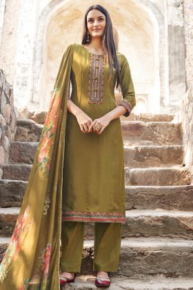 Olive Green Party Wear Semi Stitched Salwar Suit