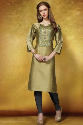 Olive Green Taffeta Art Silk Printed Readymade Kurti