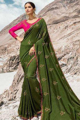 Olive Green Dola Silk Party Wear Saree With Full Sleeve Blouse
