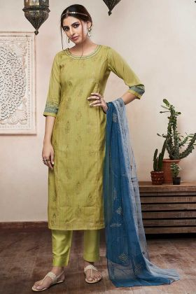 Olive Green Color Cotton Satin Straight Dress With Resham Embroidery Work