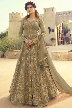 Olive Green Color Net Anarkali Suit With Heavy Embroidery Work