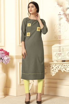 Olive Green Cotton Slub Stylish Kurti